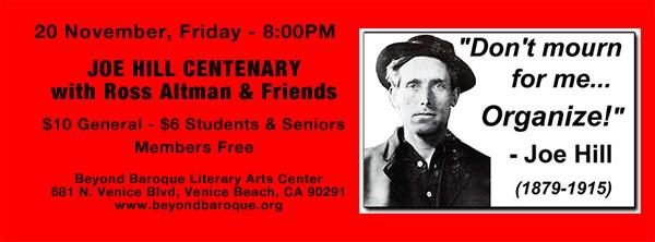 11/20 – Joe Hill Centenary with Ross Altman &Friends
