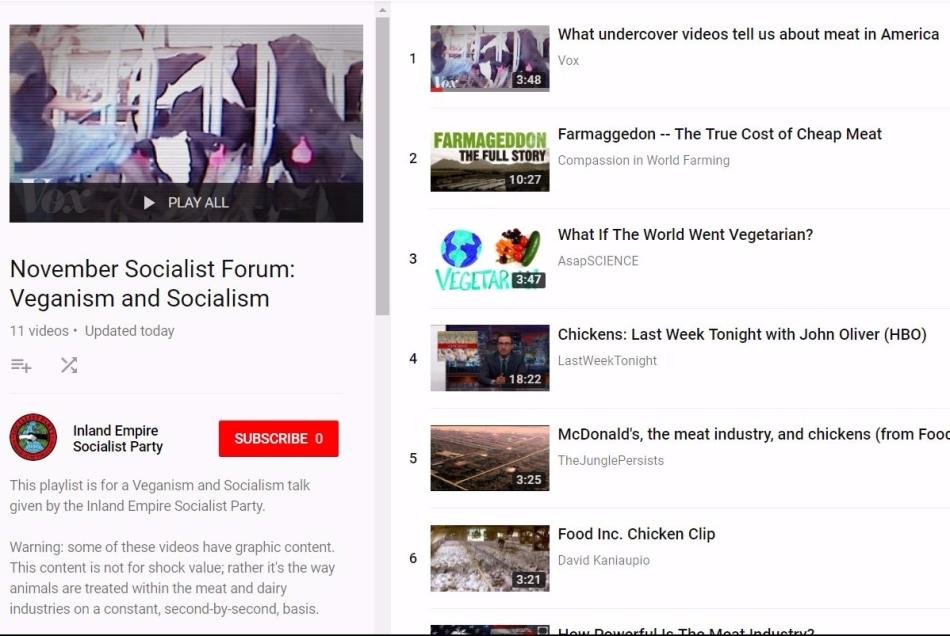 November Socialist Forum: Veganism &Socialism