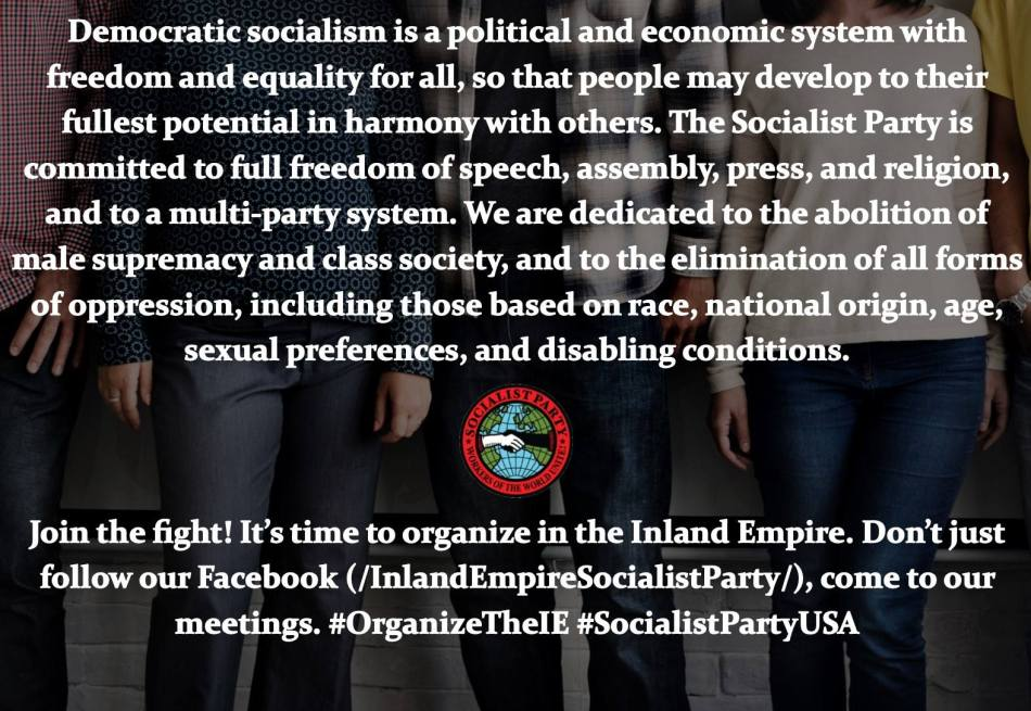 2/24 – Inland Empire Socialist Party Monthly Meeting